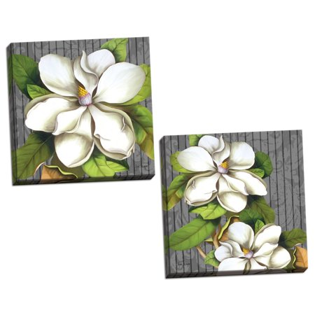 Gango Home Decor Modern Magnificent Magnolias I & II by Jill Meyer (Ready to Hang); Two 12x12in Hand-Stretched Canvases ()