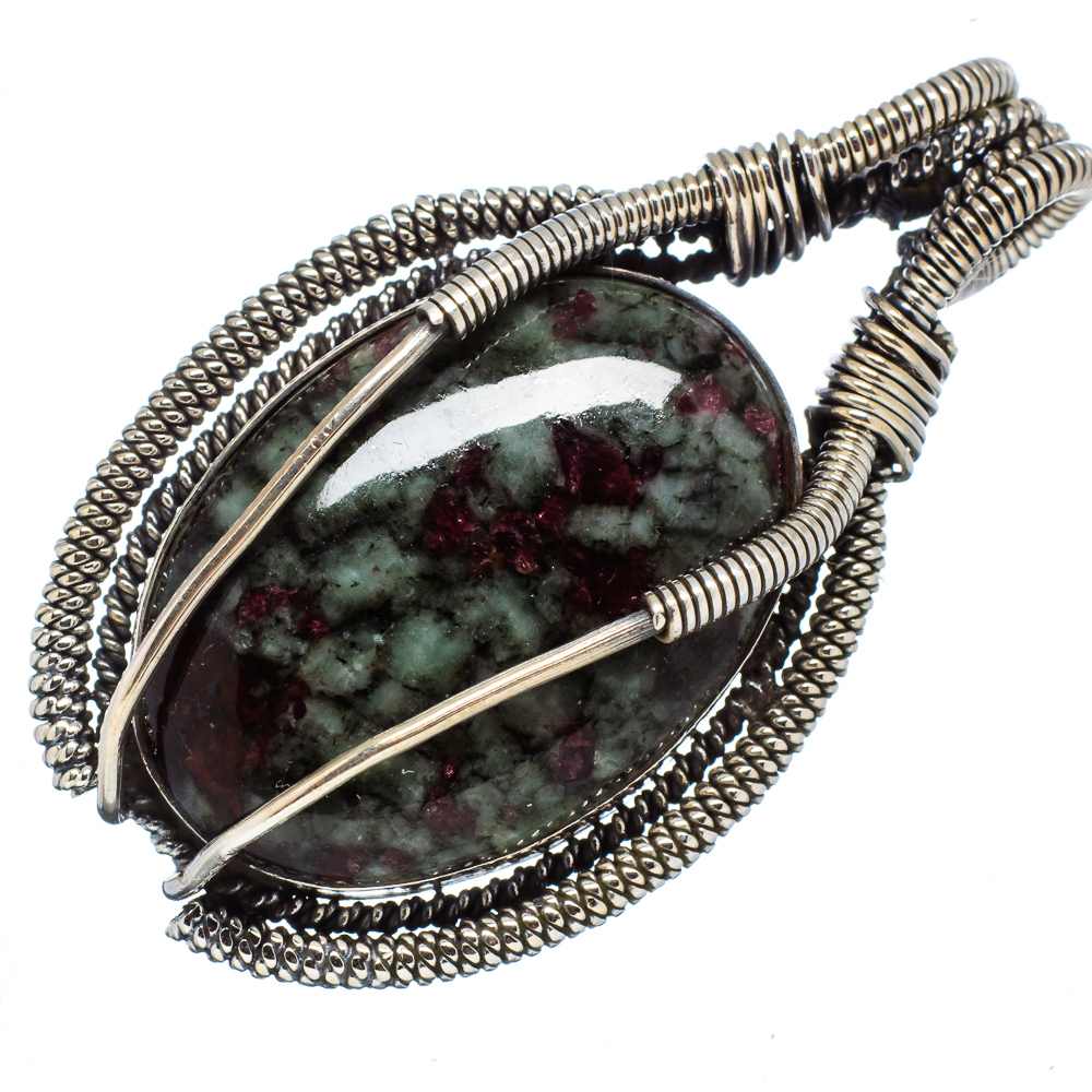 """Ana Silver Co Huge Russian Eudialyte 925 Sterling Silver Pendant 2"""" - Handmade Jewelry PD568718"""