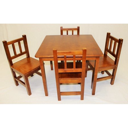 Ehemco Kids Table And 4 Chairs Set Solid Hard Wood Dark Oak