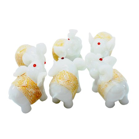 Feng Shui Set Of 6 White Elephant Trunk Statues Wealth Figurines Gift Home Decor