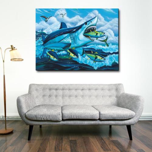 David Dunleavy /'Shark Fest/' Canvas Wall Art  Extra Large