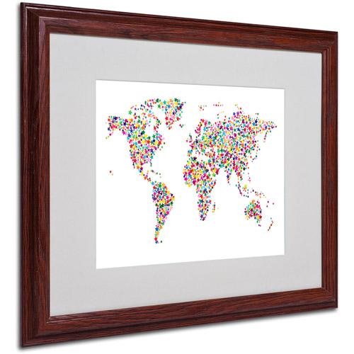 """Trademark Fine Art """"Stars World Map"""" Matted Framed Art by Michael Tompsett"""