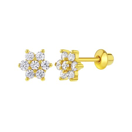 18k Gold Plated Clear Crystal Flower Toddler Baby Girls Screw Back
