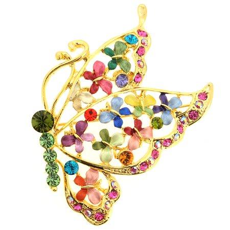 Multicolor Butterfly Pin Swarovski Crystal Pin Brooch