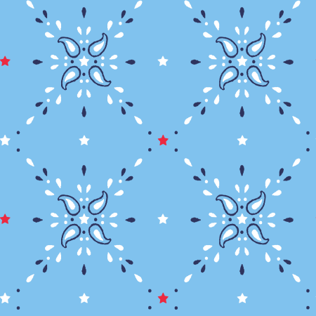 "Stitch&Sparkle Patriotic Fabrics 100% Cotton, Star Bandana Blue, 44"" Wide, 140 Gsm, Quilt, Crafts By The Yard"
