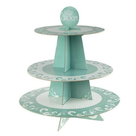 Wedding Cardboard Cupcake Stand, Aqua, 3-Tier, 14-Inch