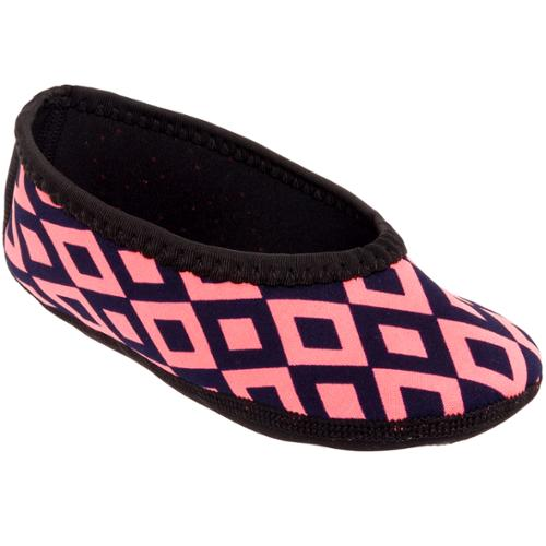 Nufoot Womens Neoprene Ballet Flat House Slipper Shoes (Retro - Black/pink, M)
