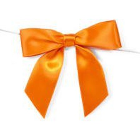 Orange Satin Twist Tie Food & Party Favor Treat Bags Packaging Bows -12ct