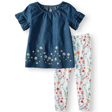 Bell Sleeve Blouse & Leggings, 2pc Outfit Set (Toddler Girls)