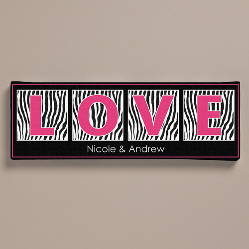 "Personalized Zebra Print Canvas, 6"" x 18"""