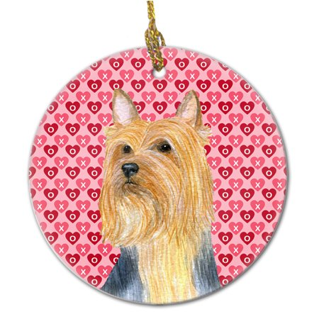 Valentine Ornaments (Silky Terrier Valentine's Love and Hearts Ceramic)