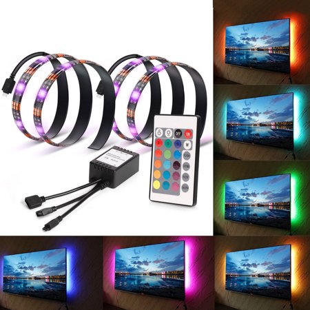 TV Backlights LED Light Strip 5V Bias Lighting USB Powered 2X1.6ft 5050 RGB Strip Light Kit with Remote Control for HDTV, Flat Screen TV Accessories and Desktop - Power Remote Mount