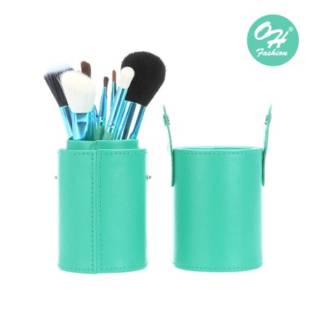 Oh Fashion Coral Blue Makeup Brushes Set 12 Pieces With Case  Contains A Highlighting   Contouring Brush  Eyeshadow Brush  Blush Brush  Foundation Brush  Eyeliner Brush  Lip Brush  Eyebrow Brush