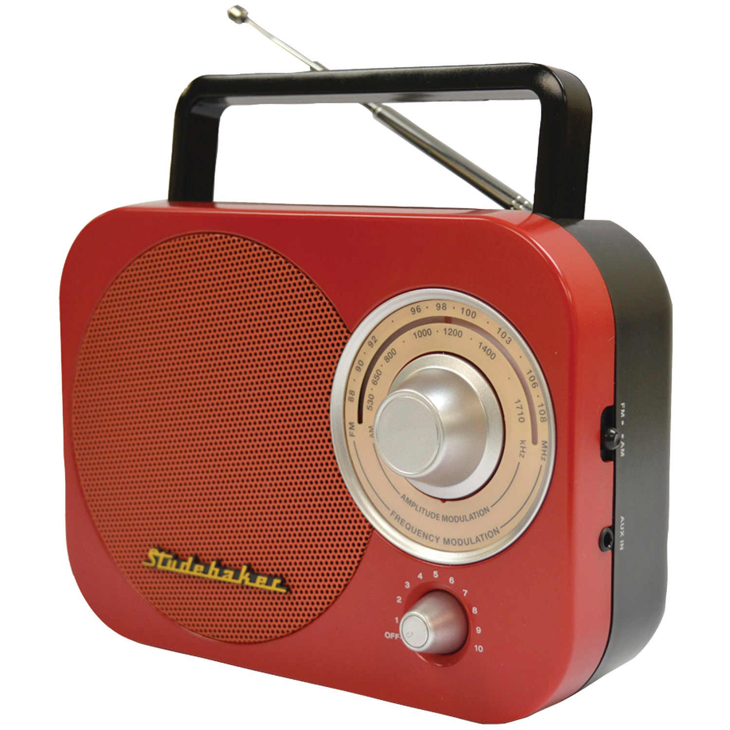 Studebaker SB2000RB Portable AM/FM Radio (Red)