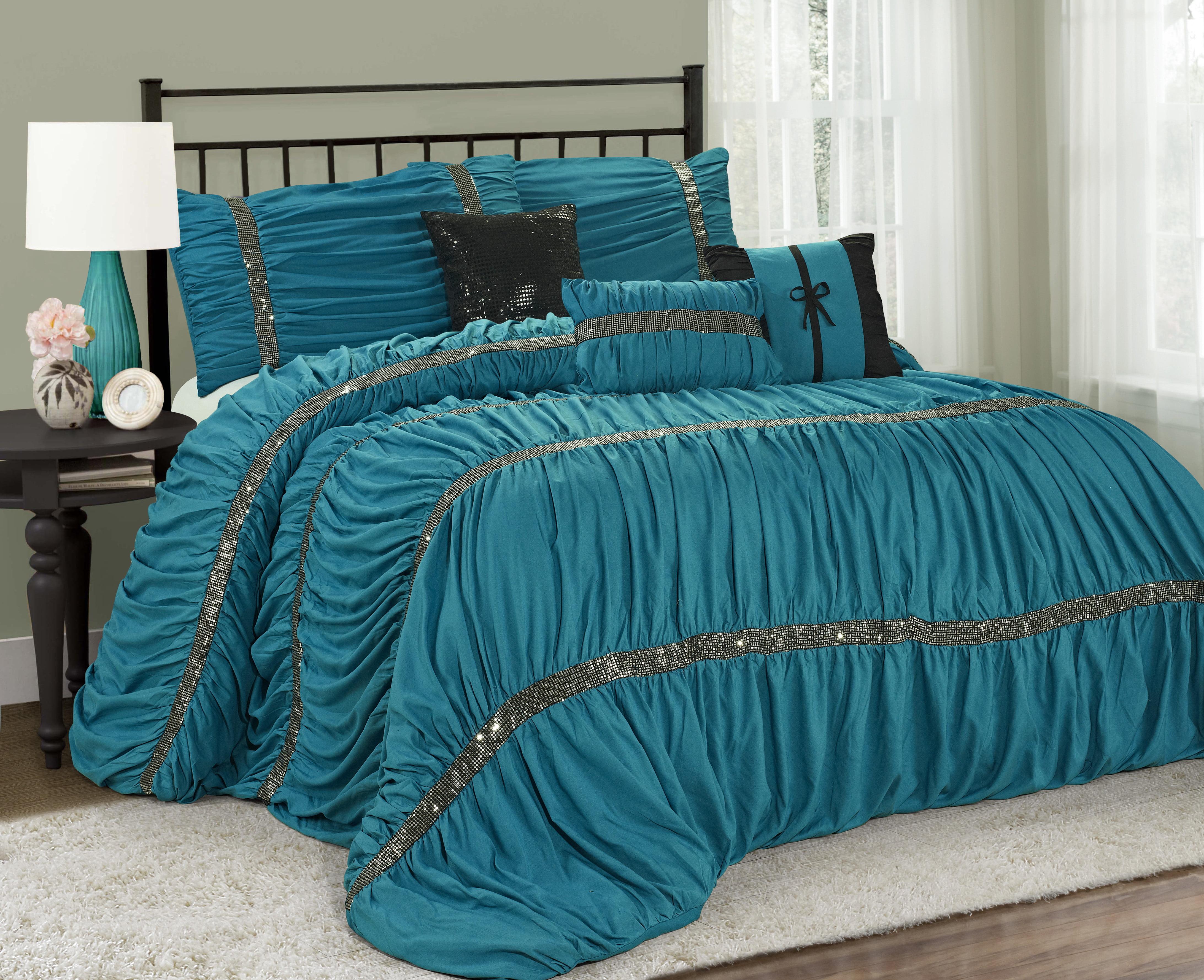 Mallen Home 7 Piece Ruched Comforter Set With Sequin