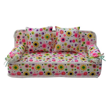 Lovely Miniature Furniture Flower Print Sofa Couch With 2 Cushions For Dolls - image 3 of 3