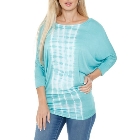 Women's Banded Dolman Tie Dye Stripe Top