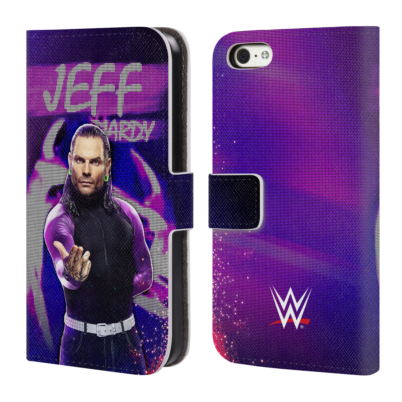 OFFICIAL WWE JEFF HARDY LEATHER BOOK WALLET CASE COVER FOR APPLE IPHONE PHONES