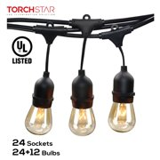 TORCHSTAR 50ft 24 Sockets Outdoor Commercial String Lights, String Lights for Patio, Garden, Party, 36 Bulbs Included