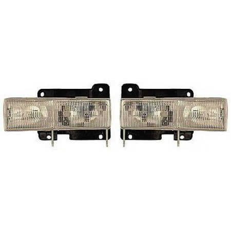 Go-Parts - PAIR/SET - OE Replacement for 2000 Chevrolet (Chevy) Blazer Front Headlightss Headlamps Assemblies Front Housing / Lens / Cover - Left & Right (Driver & Passenger) Replacement For)