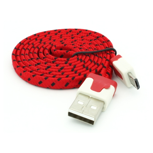 Red Braided USB Cable Rapid Charger Sync Power Wire Tangle Free Flat Cord D9 for Alcatel A30 Plus, Dawn, Fierce 4, Idol 4 5S, Jitterbug Smart, One Touch Fierce XL POP ICON 2, OneTouch Fierce XL Flint