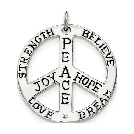 Leslies Fine Jewelry Designer 925 Sterling Silver Polished CZ Antiqued Peace Inspiration Pendant (Antique Designer Jewelry Set)