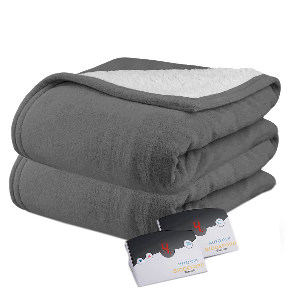 NEW Biddeford Blankets Solid Microplush Electric Blanket Size:King Blue
