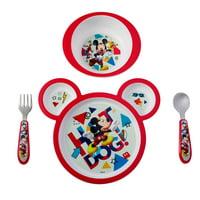 Disney Minnie Mouse Feeding Set, Minnie Mouse Plate, Bowl, Knife & Fork Set, 4 Pieces
