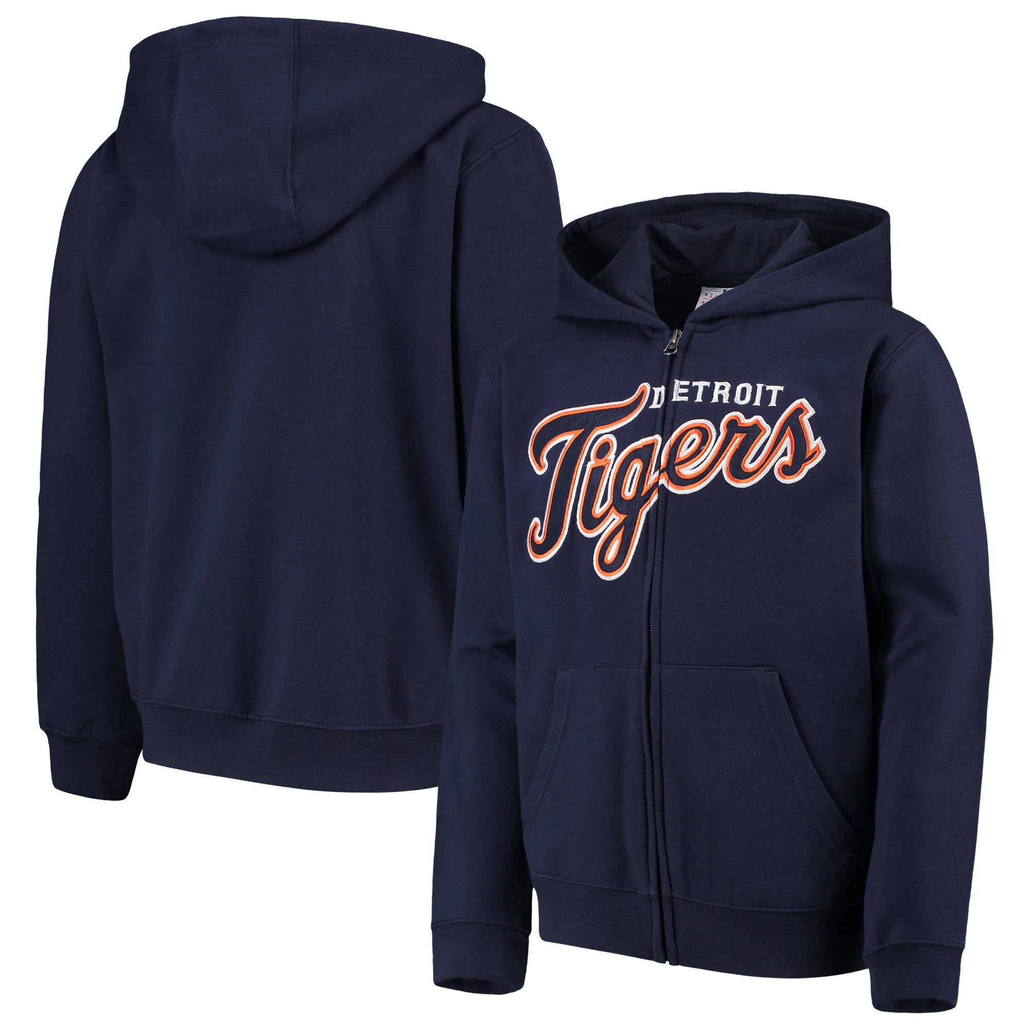 Detroit Tigers Youth Team Color Wordmark Full-Zip Hoodie - Navy