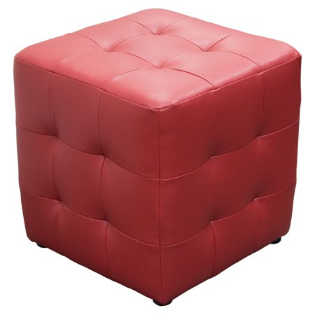 Diamond Sofa Bonded Leather Tufted Cube Accent Ottoman