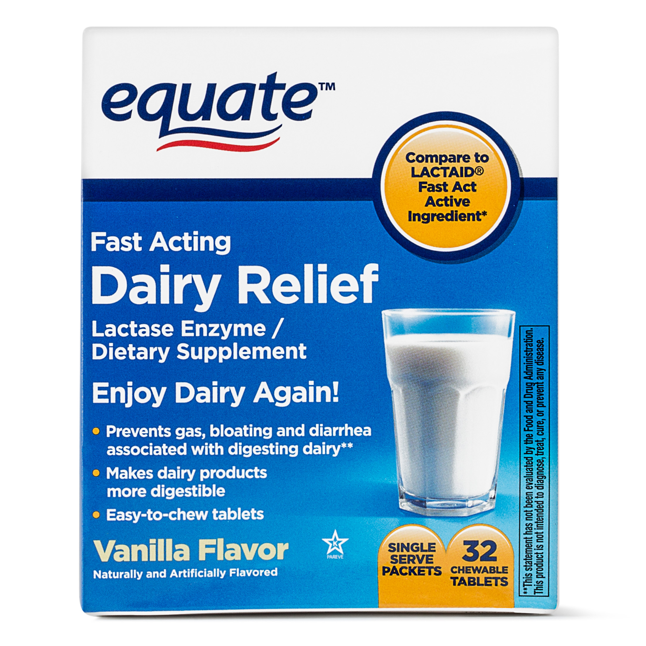 Equate Fast Acting Dairy Relief Lactase Enzyme Vanilla Chewables, 32 Ct