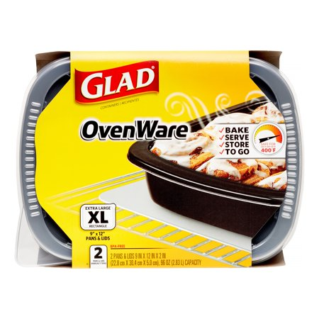 Glad OvenWare Food Storage Containers, Rectangular, Black, 96 Oz