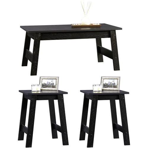Sauder Beginnings 3 Piece Coffee and End Tables Value Bundle, Black