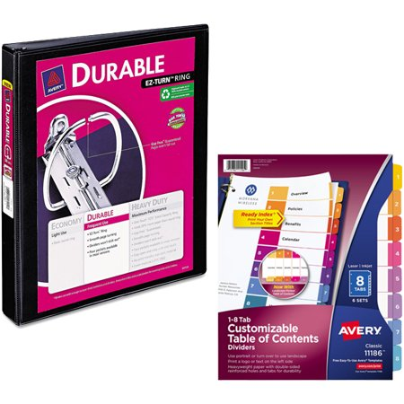 Avery Durable Reference Vinyl EZ-Turn Ring View Binder, 1