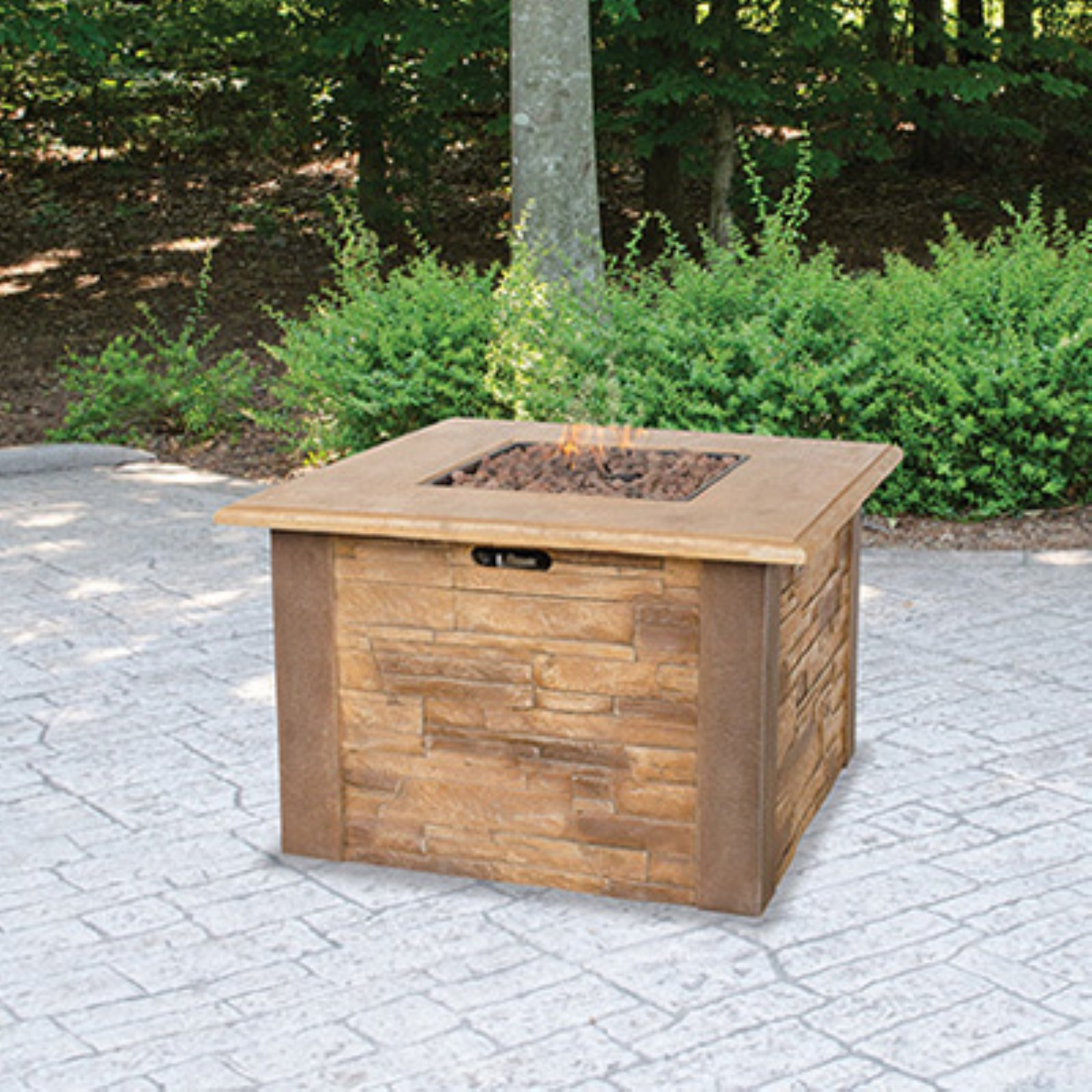 UniFlame LP Gas Faux-Stacked Stone Firepit Table by Blue Rhino Global Sourcing Inc