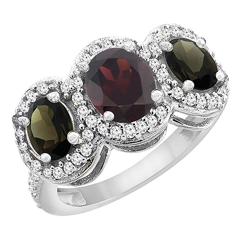 10K White Gold Natural Garnet & Smoky Topaz 3-Stone Ring Oval Diamond Accent, size 5 by Gabriella Gold