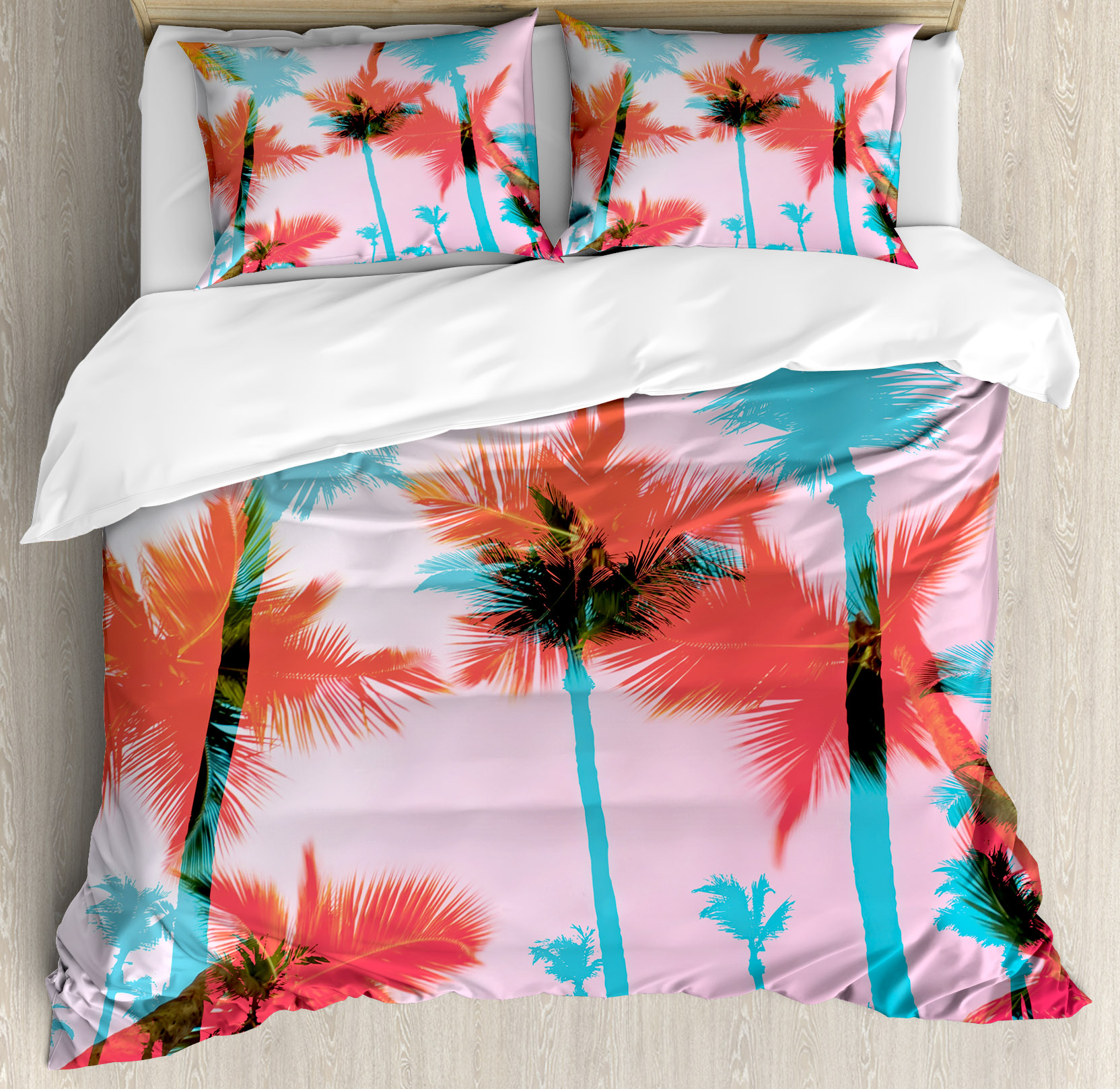 Tropical King Size Duvet Cover Set, Coconut Palm Tree Sil...