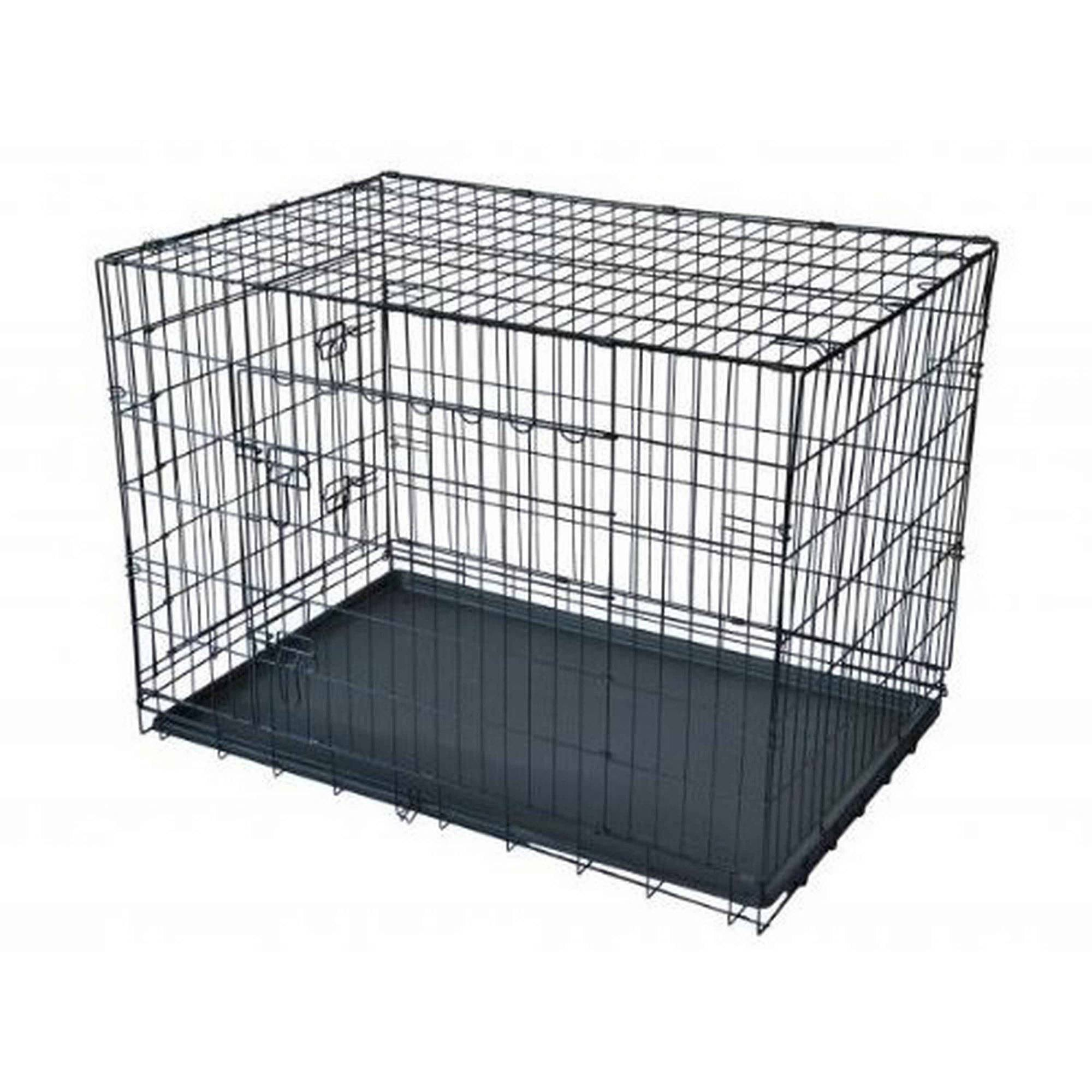 "Click here to buy Aleko SDC-2D-30B Wire Mesh Dog Cage 30"" Black, 2 Door by ALEKO."