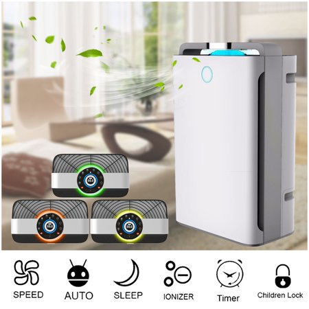 AUGIENB True HEPA Air Purifier 4-in-1 True HEPA, Humidifier, Ionizer UV Lamp Sanitizer Air Purifier for Allergies & Pets, Rooms, Smokers, Dust, Mold, Allergens, Odor Elimina (Hepa Filter Humidifier)