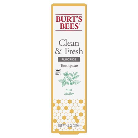 Burt's Bees Toothpaste with Fluoride, & Fresh, Mint Medley, 4.7 oz