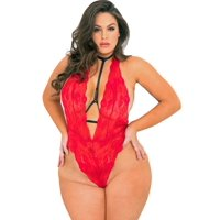 Lacy Line Sexy Lace Plus Size Teddy With Attached Choker