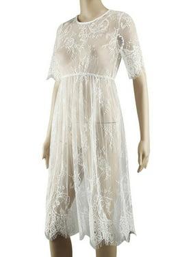 Women's Sheer Lace Mesh Pregnant Maternity Short Mini Dress