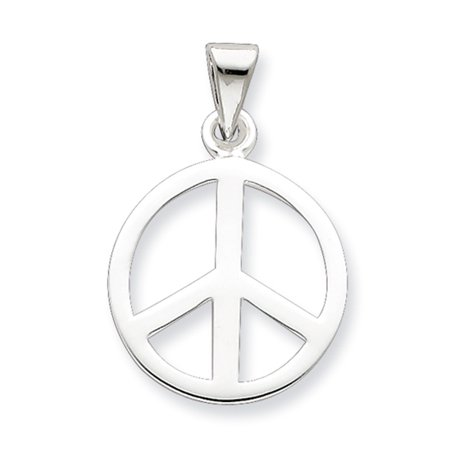 Sterling Silver 16mm Polished Peace Symbol Pendant