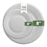 """CaterEco Bagasse Compostable Disposable Plates (100 Count) 