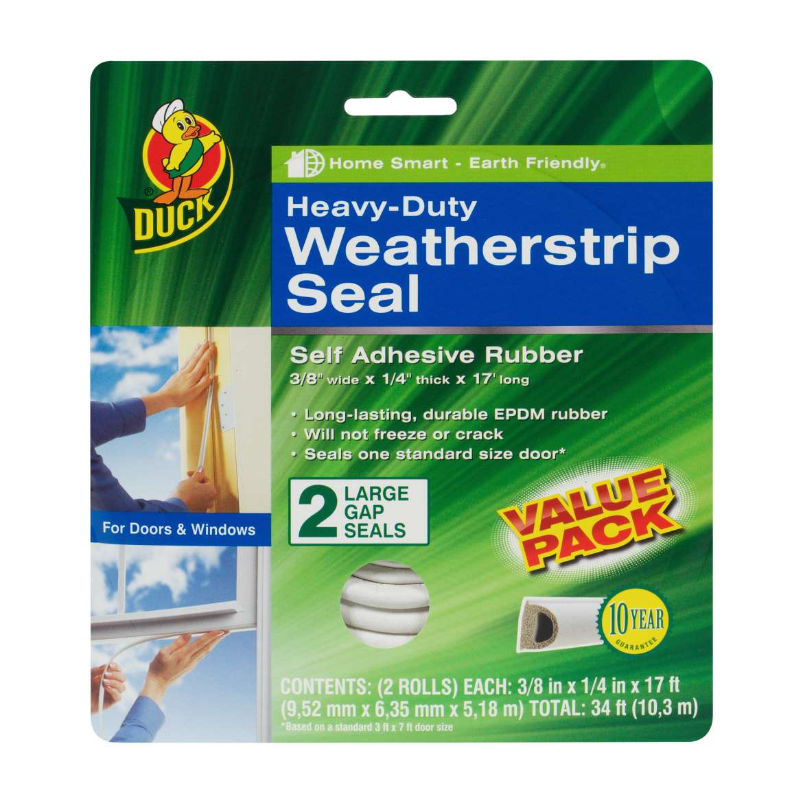 Duck Brand Heavy-Duty Weatherstrip Seal for Large Gaps, 2pk