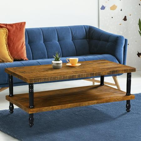 Granrest Inudstrial Coffee Table, Rustic Walnut