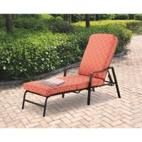 Mainstays Outdoor Patio Chaise Lounge with Adjustable Back, Orange Geo Pattern