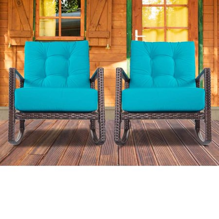 Suncrown Patio Rocking Chair 1 Piece Outdoor Furniture Teal Wicker