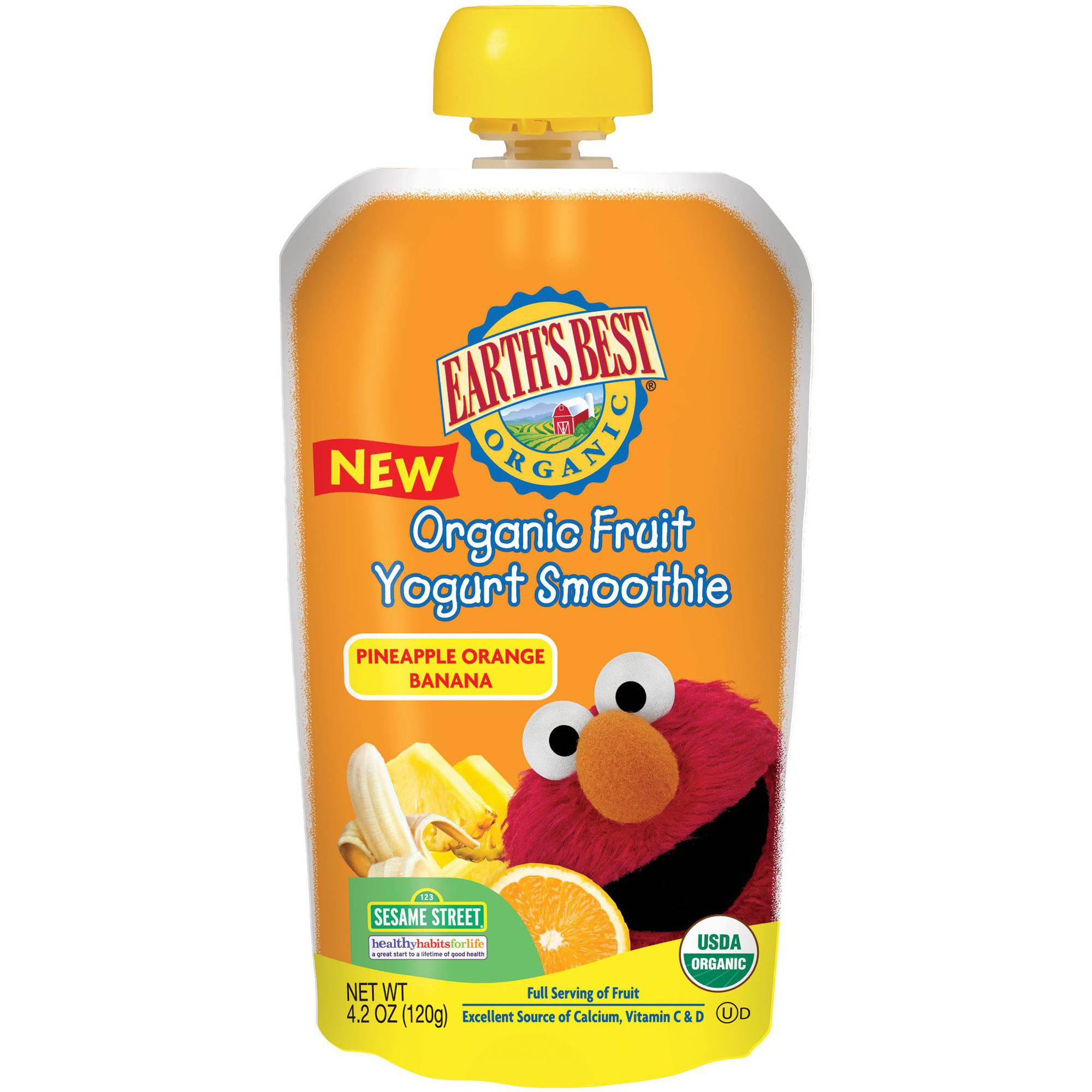 Earth's Best Organic Sesame Street Pineapple Orange Banana Fruit Yogurt Smoothie, 4.2 oz, (Pack of 6)