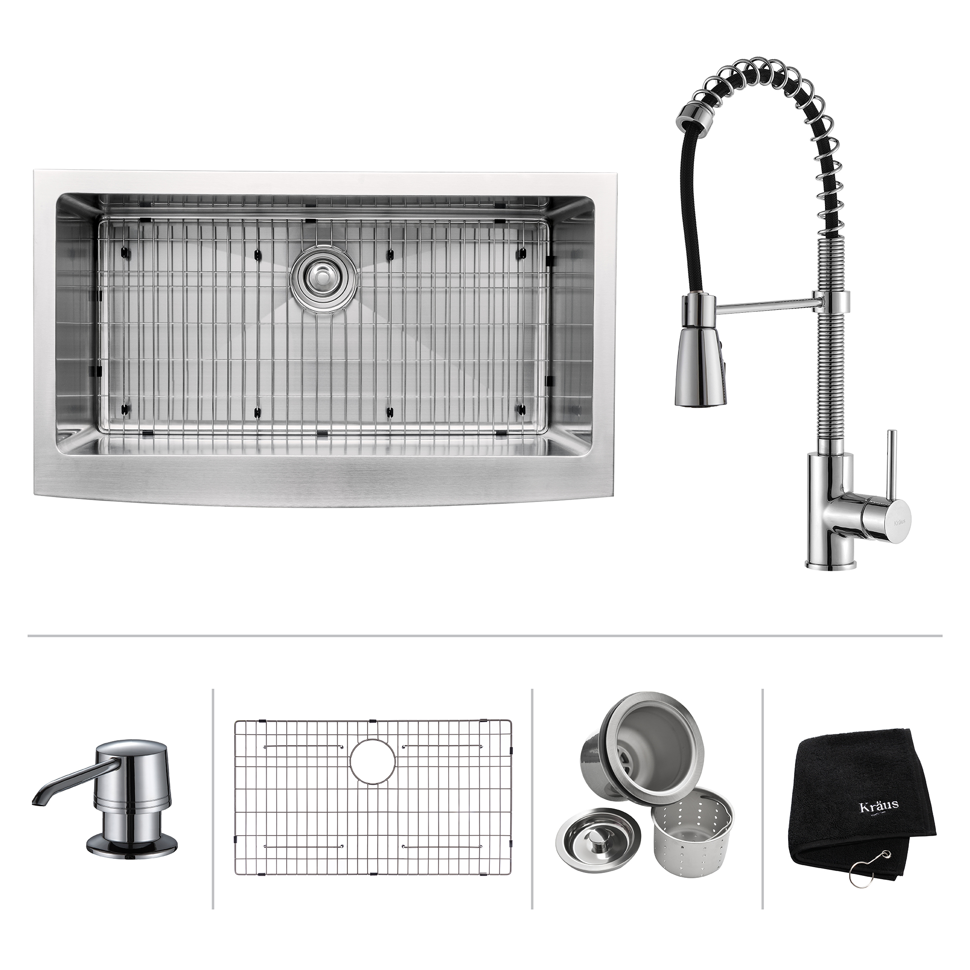 KRAUS 36 Inch Farmhouse Single Bowl Stainless Steel Kitchen Sink with Commercial Style Kitchen Faucet & Soap Dispenser in Chrome